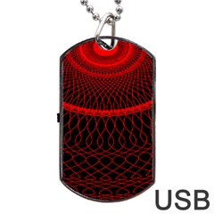 Red Spiral Featured Dog Tag USB Flash (One Side)