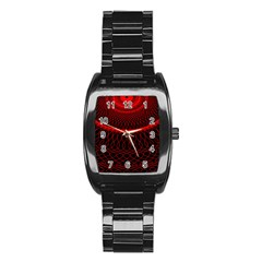 Red Spiral Featured Stainless Steel Barrel Watch