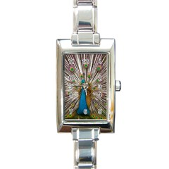 Indian Peacock Plumage Rectangle Italian Charm Watch