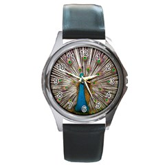 Indian Peacock Plumage Round Metal Watch