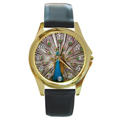 Indian Peacock Plumage Round Gold Metal Watch