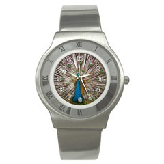 Indian Peacock Plumage Stainless Steel Watch