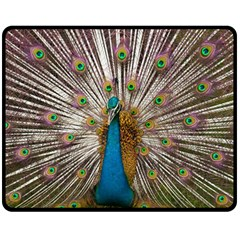 Indian Peacock Plumage Double Sided Fleece Blanket (Medium)