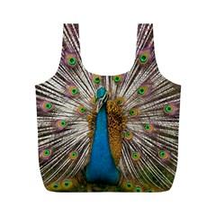 Indian Peacock Plumage Full Print Recycle Bags (M)