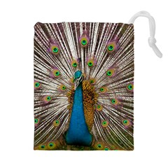 Indian Peacock Plumage Drawstring Pouches (Extra Large)