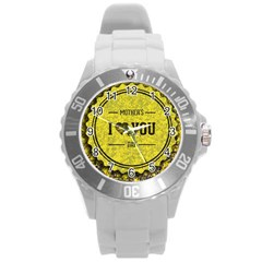 Happy Mother Day Round Plastic Sport Watch (L)