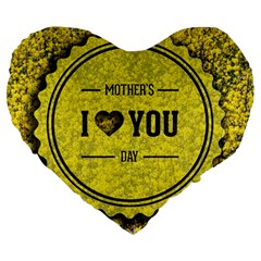 Happy Mother Day Large 19  Premium Heart Shape Cushions