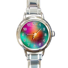Colourful Weave Background Round Italian Charm Watch