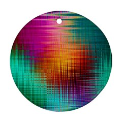 Colourful Weave Background Ornament (round)