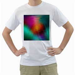 Colourful Weave Background Men s T Shirt (white) (two Sided)
