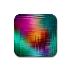 Colourful Weave Background Rubber Coaster (Square)