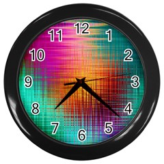Colourful Weave Background Wall Clocks (Black)