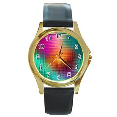 Colourful Weave Background Round Gold Metal Watch