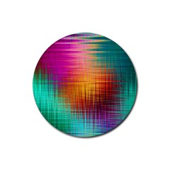 Colourful Weave Background Rubber Coaster (Round)