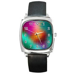Colourful Weave Background Square Metal Watch