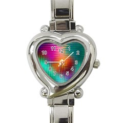 Colourful Weave Background Heart Italian Charm Watch
