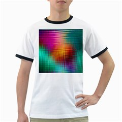 Colourful Weave Background Ringer T-Shirts