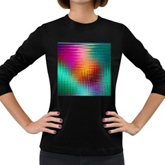 Colourful Weave Background Women s Long Sleeve Dark T Shirts