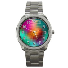 Colourful Weave Background Sport Metal Watch