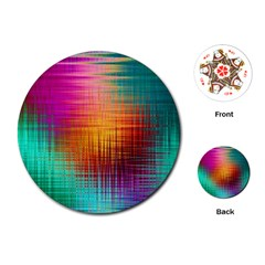 Colourful Weave Background Playing Cards (Round)