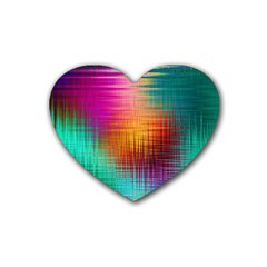Colourful Weave Background Rubber Coaster (heart)