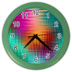Colourful Weave Background Color Wall Clocks