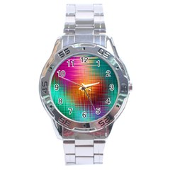 Colourful Weave Background Stainless Steel Analogue Watch