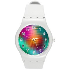 Colourful Weave Background Round Plastic Sport Watch (M)