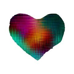 Colourful Weave Background Standard 16  Premium Heart Shape Cushions