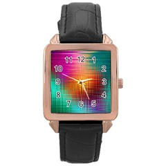 Colourful Weave Background Rose Gold Leather Watch