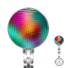 Colourful Weave Background Stainless Steel Nurses Watch