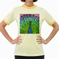Peacock Bird Animation Women s Fitted Ringer T Shirts