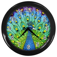Peacock Bird Animation Wall Clocks (black)
