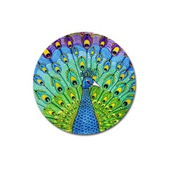 Peacock Bird Animation Magnet 3  (Round)