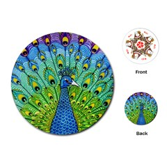 Peacock Bird Animation Playing Cards (round)