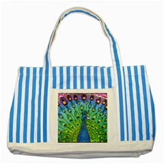Peacock Bird Animation Striped Blue Tote Bag