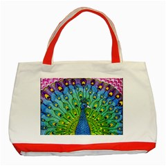 Peacock Bird Animation Classic Tote Bag (Red)