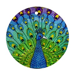 Peacock Bird Animation Round Ornament (Two Sides)