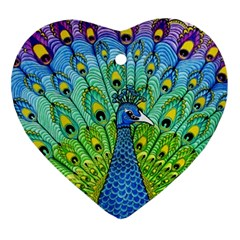 Peacock Bird Animation Heart Ornament (two Sides)