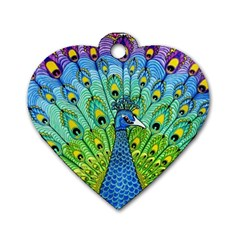 Peacock Bird Animation Dog Tag Heart (Two Sides)