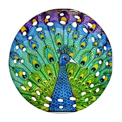 Peacock Bird Animation Round Filigree Ornament (Two Sides)