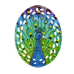 Peacock Bird Animation Ornament (Oval Filigree)