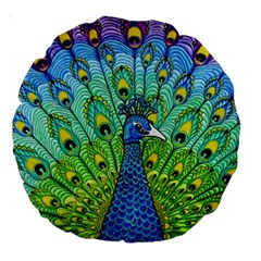 Peacock Bird Animation Large 18  Premium Round Cushions