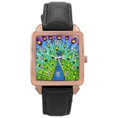 Peacock Bird Animation Rose Gold Leather Watch