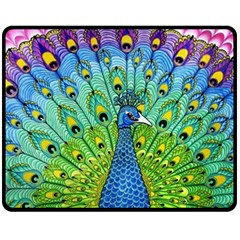 Peacock Bird Animation Double Sided Fleece Blanket (Medium)