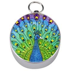 Peacock Bird Animation Silver Compasses