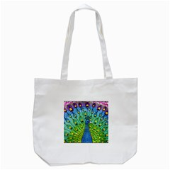 Peacock Bird Animation Tote Bag (White)