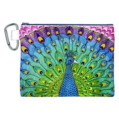 Peacock Bird Animation Canvas Cosmetic Bag (XXL)