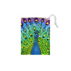 Peacock Bird Animation Drawstring Pouches (XS)