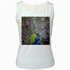 Peacock Bird Feathers Women s White Tank Top